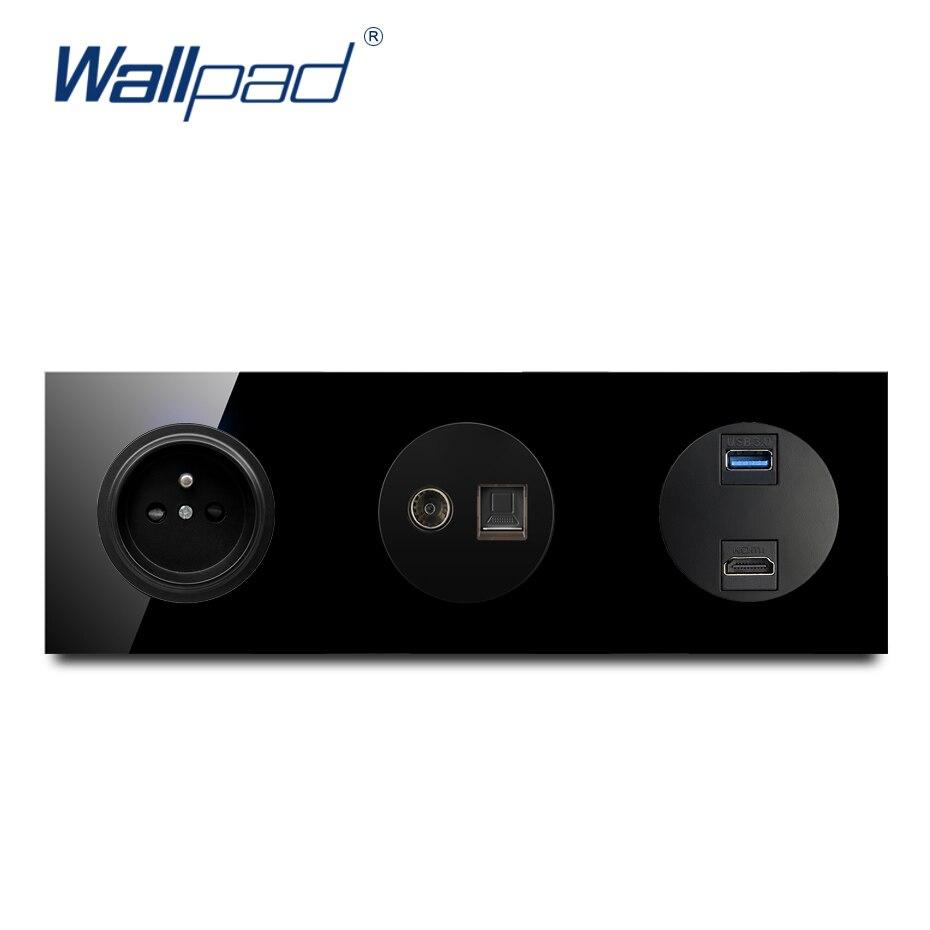 مقبس الحائط الأوروبي الفرنسي مع التلفزيون DAT USB 3.0 HDMI متوافق مع الكريستال لوحة الزجاج الأسود النقي 16A مقبس الطاقة الجدار