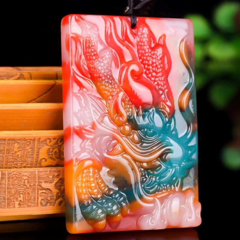 Collar con colgante de cabeza de dragón de Jade de Color Natural, amuleto de joyería de moda tallado a mano chino para hombres y mujeres, regalos de La Fortuna