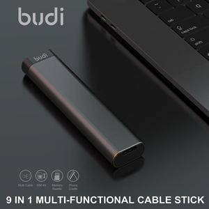 Многофункциональный смарт-адаптер BUDI, USB-кабель для хранения данных, коробка с несколькими кабелями, 6 типов кабелей, набор для SIM-карт, устро...