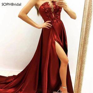 High Slit Muslim Evening Dress Deep V-Neck Applique Special Occasion Evening Gown Prom Dress Dubai Saudi Arabic Abendkleider