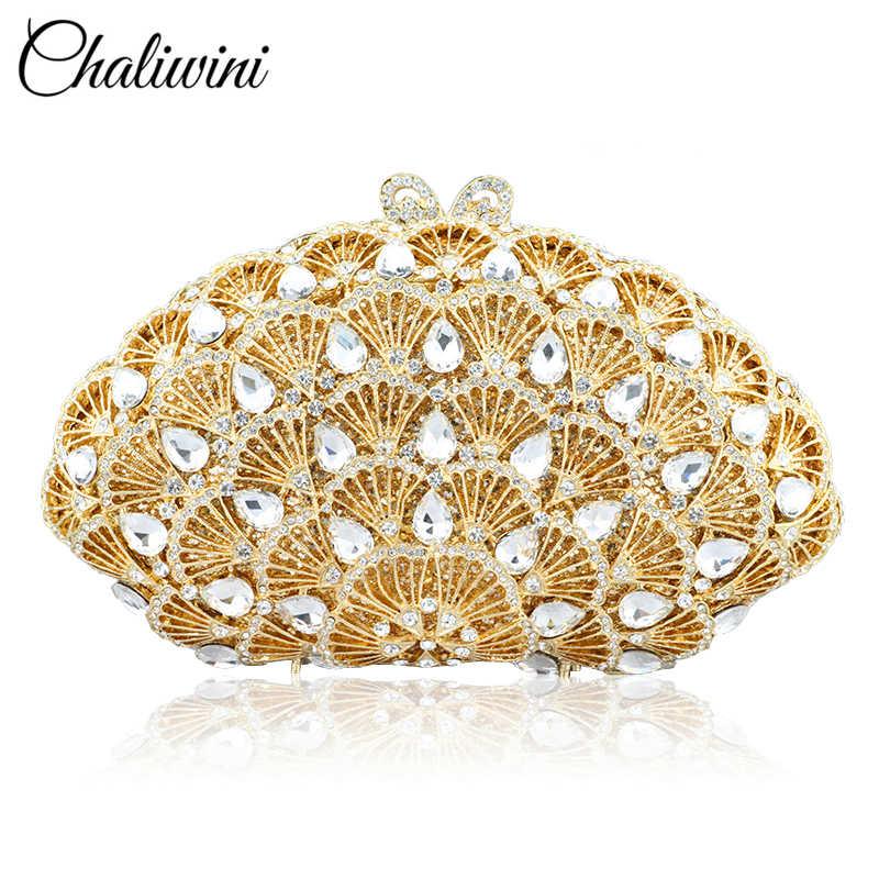 CHALIWINI-حقيبة سهرة ذهبية للنساء ، حقيبة زفاف لامعة ، حقيبة كلاتش بفيونكة معدنية ، حقيبة كتف بسلسلة
