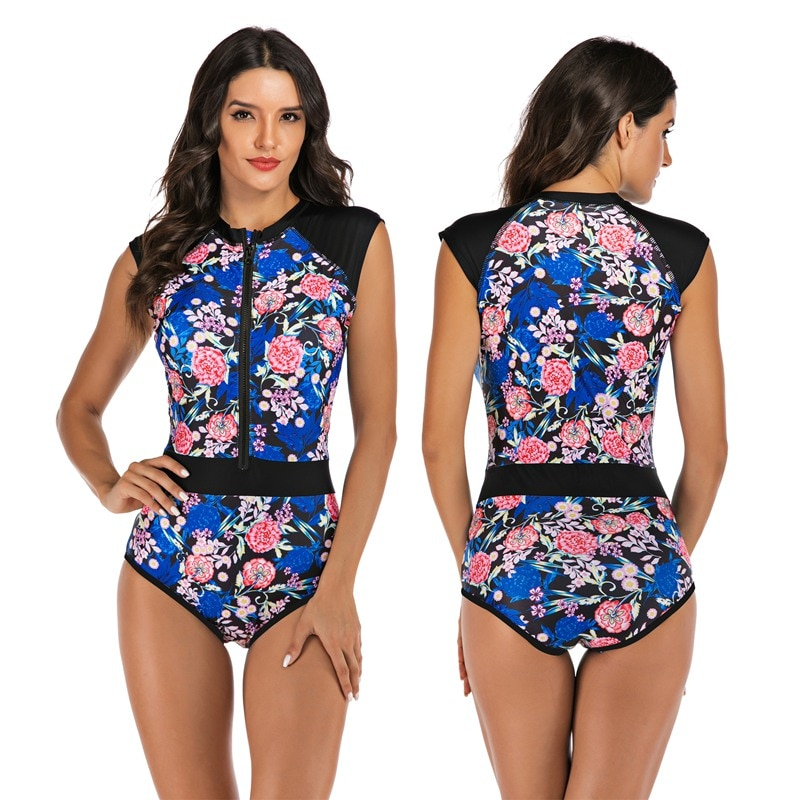 2020 One Piece Swimsuit Plus Size Swimwear Women Bathing Suit Backless High Neck Print Floral Swimming Surfing Suit Beach Wear