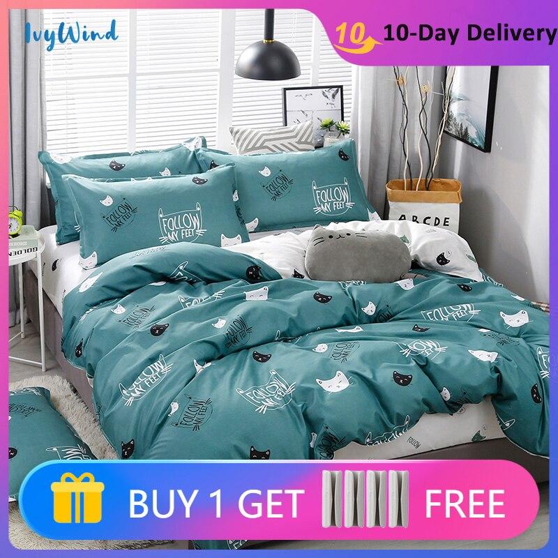 أغطية سرير طقم سرير الشمال حاف الغطاء مطبوعة الصلبة البلايد وأغطية التوأم كامل الملكة الملك 3/4 قطعة المنسوجات المنزلية 200x240