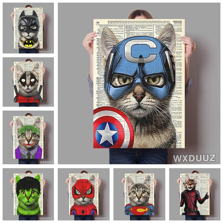 Pintura en lienzo de calidad de superhéroes para decoración de pared de habitación de niños, gatos y perros, cartel abstracto vintage
