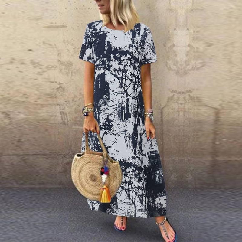 ZANZEA 2020 Printed Maxi Dress Womens Summer Sundress Casual Short Sleeve Vestidos Kaftan Female Graffiti Tunic Robe Plus Size