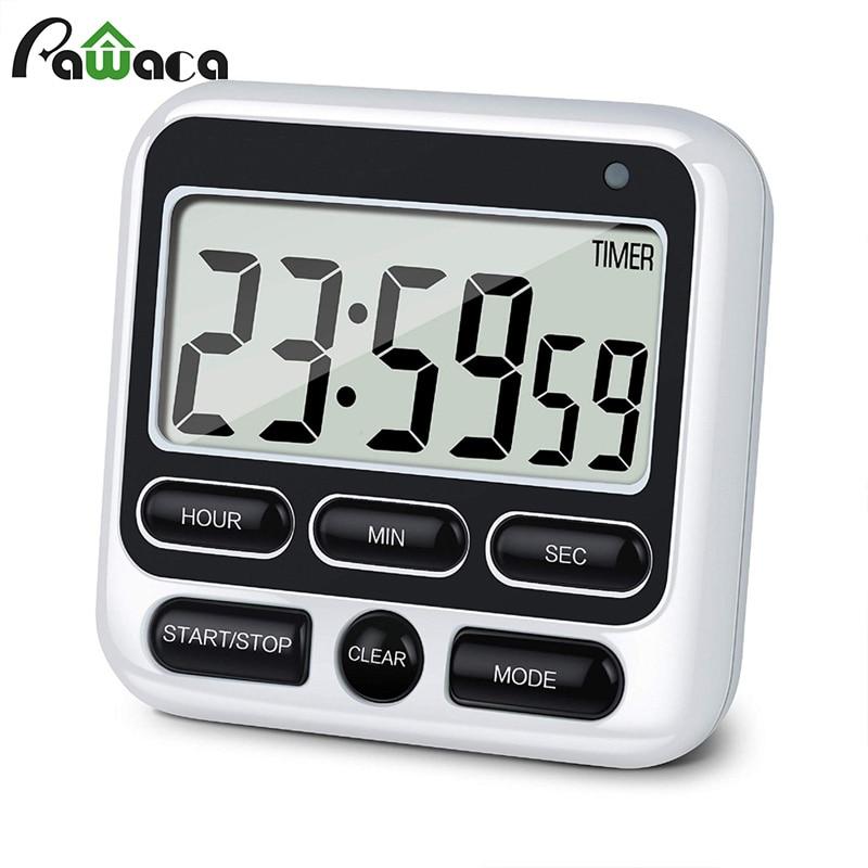 Gran pantalla, cronómetro Digital magnético para cocina, cronómetro de cocina, despertador, contador de cuenta atrás, cronómetro, cronómetro, soporte trasero