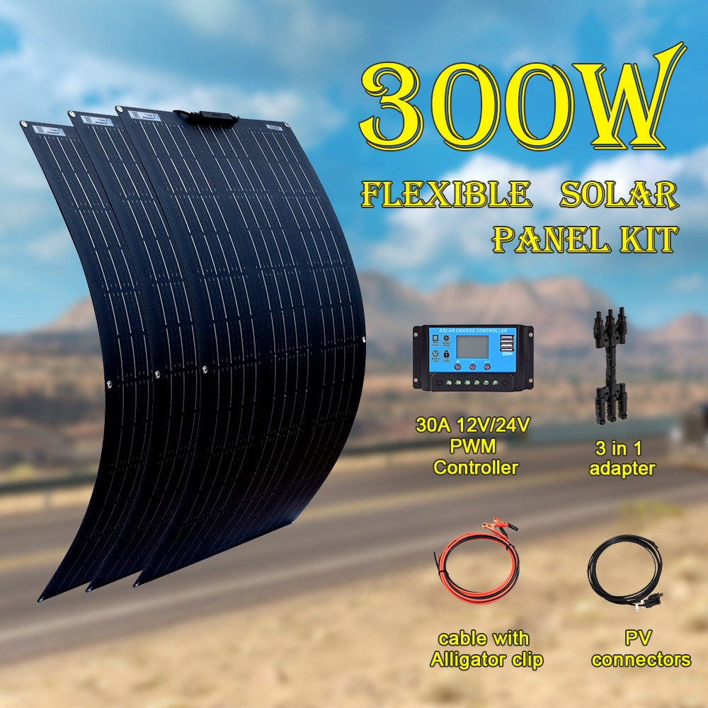 Flexible Solar Panel kit complete 18V 100W 200W 300W 400W for 12V 24V battery car RV home outdoor Power charging