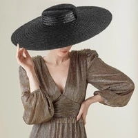 large wide brim flat top sun straw hat fashionable summer with long ribbon hats for women holiday vintage beach visor cap retro