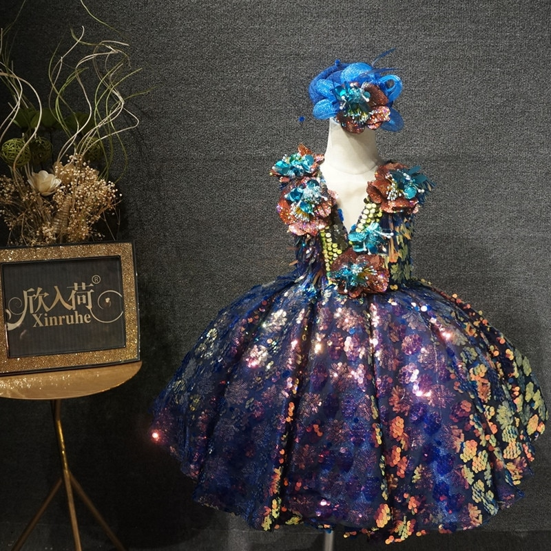 Bling Shiny Colorful Sequin Girls Dresses Luxury Girl Party Dresses Unique Shinny Girl Pageant Dress First Communication Custom
