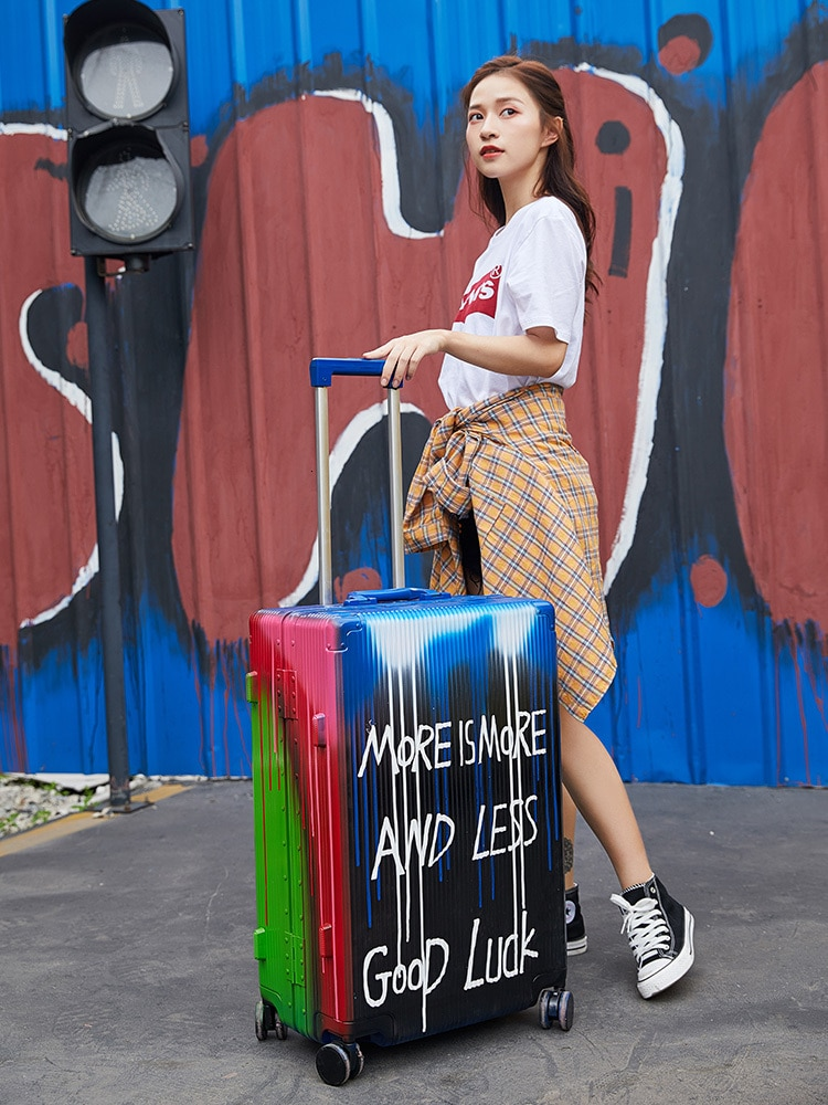 Valise Voyageur Trunk Ins Doodle Pull Rod Suitcase Travel Koffer 20/24/26in Password Rolling Luggage Universal Wheel