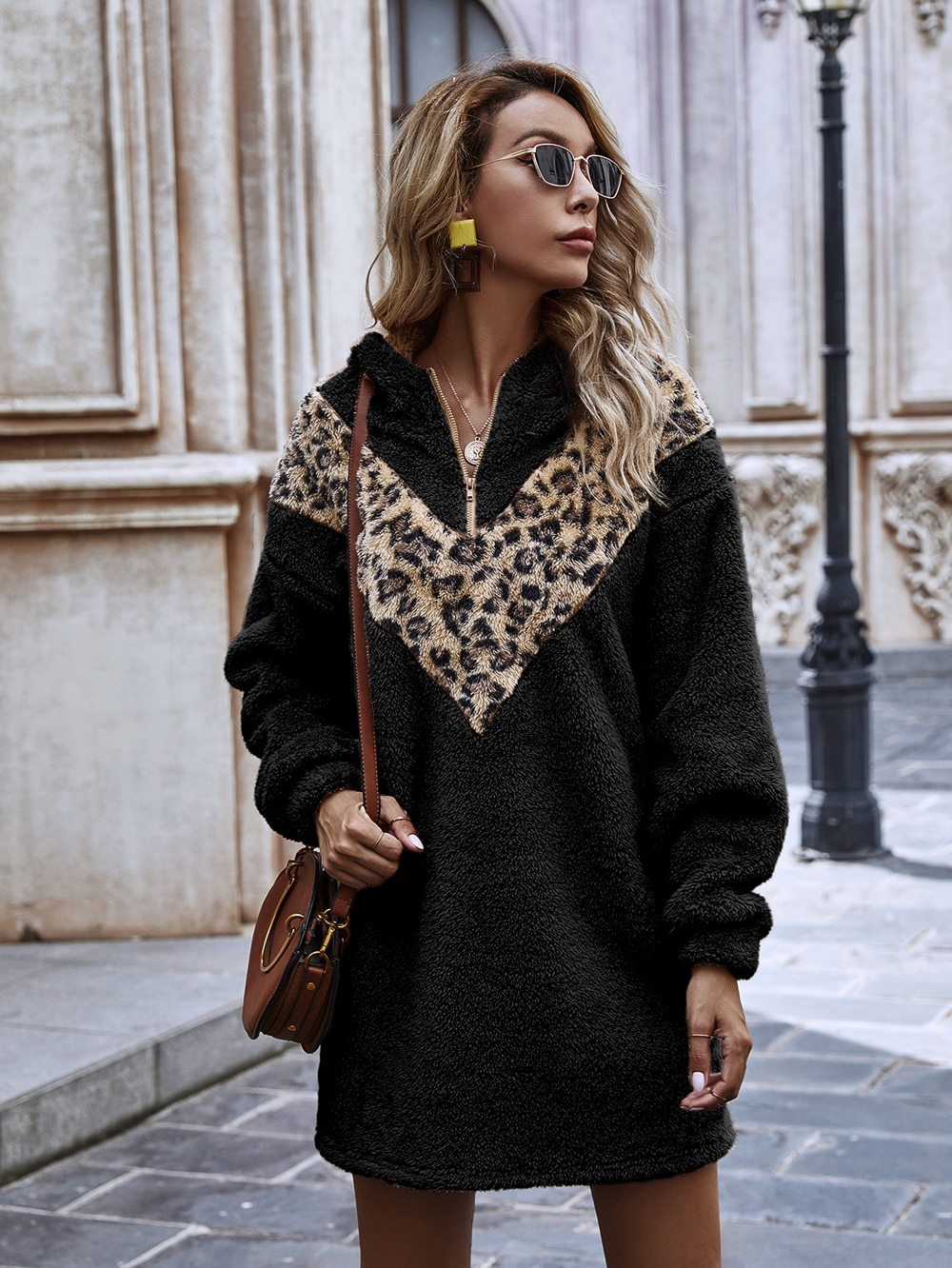 Women's solid color plush hooded autumn and winter dresses, dresses for women 2021, Women clothes, Party dresses, traf