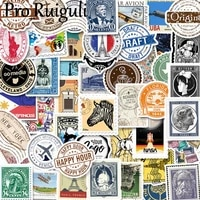 50pcs vintage post stamps scrapbooking stickers packs waterproof skateboard luggage guitar graffiti toy decals paster gift