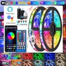 Wifi RGBWW strisce Led luci 5050 2835 Bluetooth Led light strip RGB bianco caldo flessibile lampada nastro nastro adattatore cc per Alexa