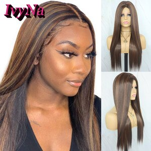 IvyNa Brown Highlight Synthetic Wig for Black Women Futura Synthetic Hair Middle Part 6 Inch Silk Base None Lace Wig Mixed Color