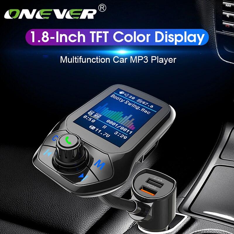 Onever bluetooth 5.0 transmissor fm carro modulador voiture mp3 player de rádio receptor duplo carregador usb qc3.0 música lossless novo