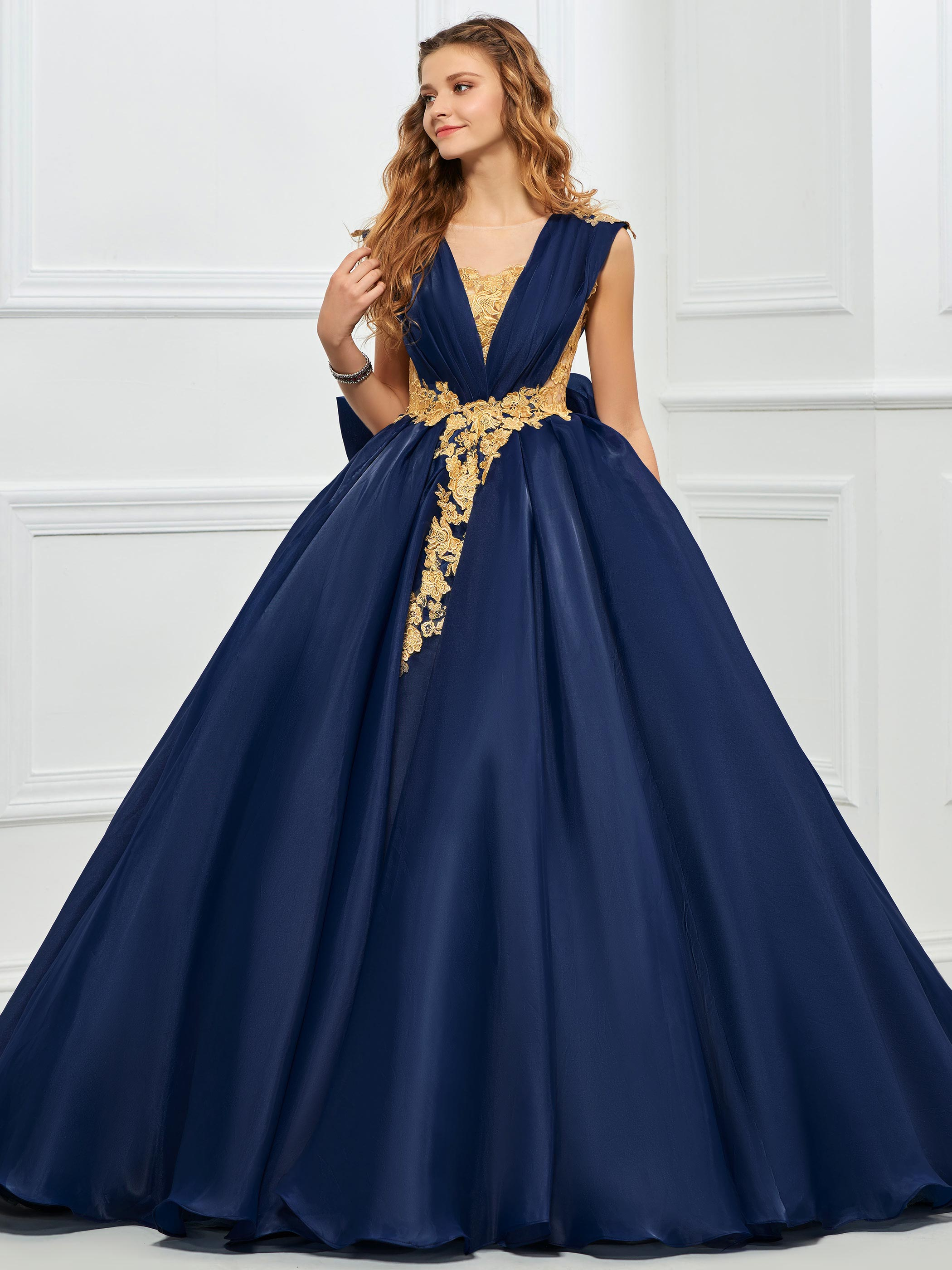 Tanpell Princess Appliques Lace Ball Gown Quinceanera Dress Vintage Bowknot Floor-Length Designer Christmas Quinceanera Dress vintage bowknot button embellished plaid dress