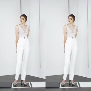 Modern 2021 Jumpsuits Bateau Neck Lace Appliqued Ankle Length White Prom Dress Custom Made Evening Gowns  Party Wear