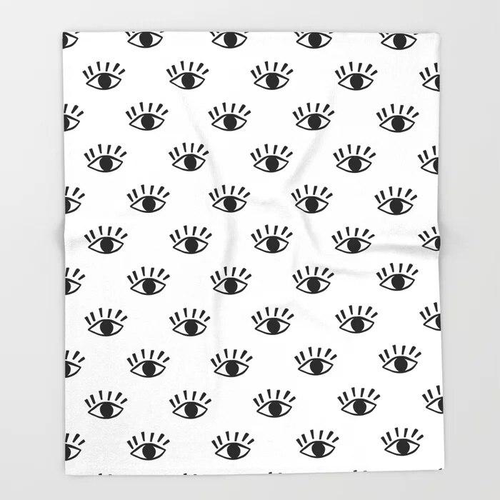 Manta con diseño de mandala con diseño gráfico de pestañas y Ojo Blanco y Negro manta de lana y Manta para sofá manta de lana 150X200