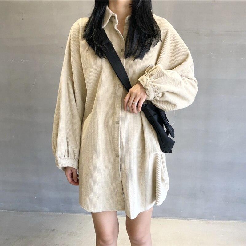 Harajuku camisa de pana Coreana de moda de bolsillo Vintage linterna de camisa de manga larga Mujer botones sueltos albaricoque BF Cool blusa de mujer