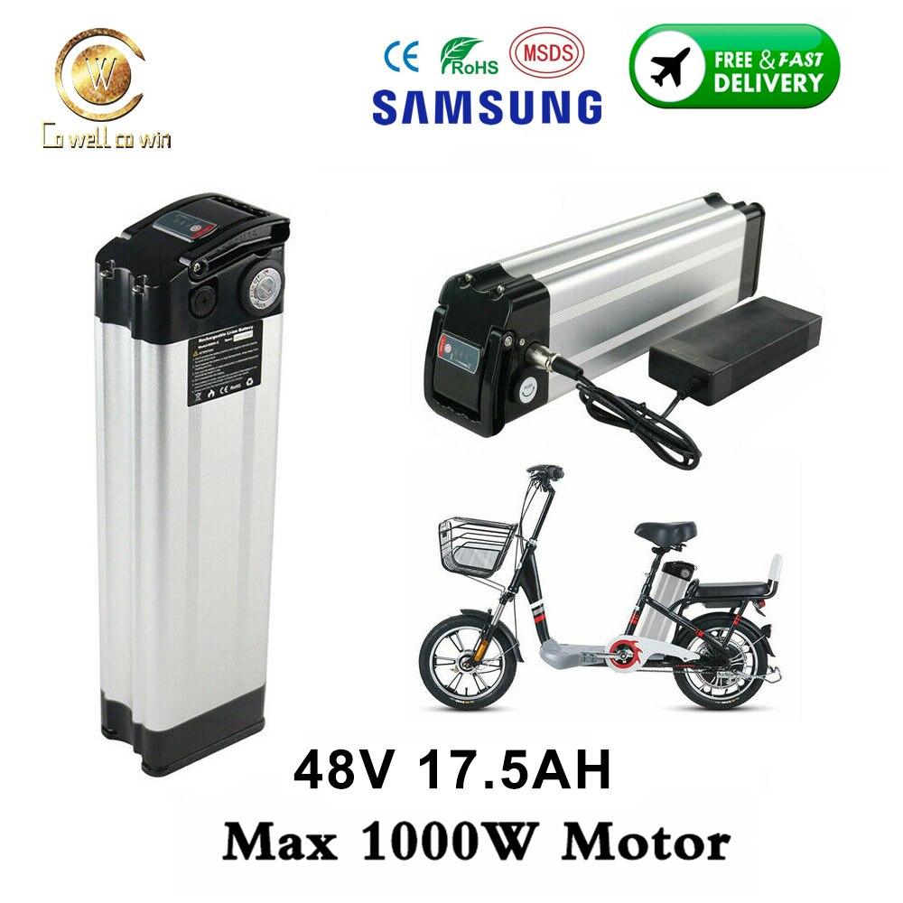 48V Ebike батарея 17.5AH с Samsung 35E Электрический велосипед серебро рыбы сиденья вниз батареи 18650 для 48V 1000W 750W мотор велосипеда
