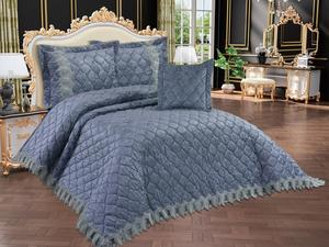 Benna Quilted Double Bed Cover Anthracite