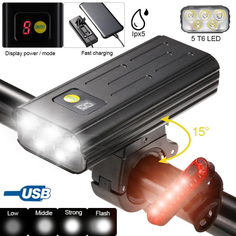 USB دراجة أمامية ضوء 5 LED دراجة المقود مصباح شاشة ديجيتال الدراجات مضيا مع TYPE-C شحن قوة البنك وظيفة