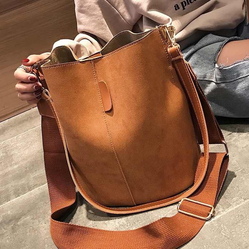 Brand design luxury ladies bucket PU shoulder bag single shoulder large capacity messenger broadband female solid color handbag