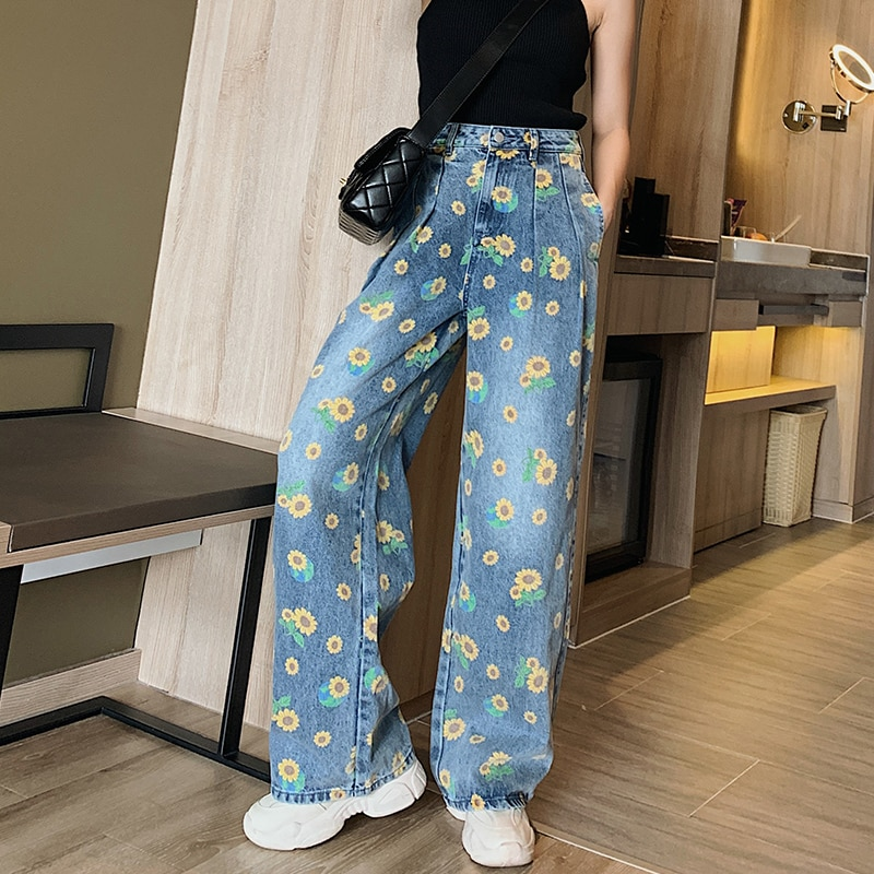wide leg jeans for women blue loose pants high waist casual large size straight pants boyfriend straight mom jeans streetwear Wide Leg Jeans For Women Blue Loose High Waist Baggy Pants Casual New Jeans Large Size Straight Print Wide Leg pants