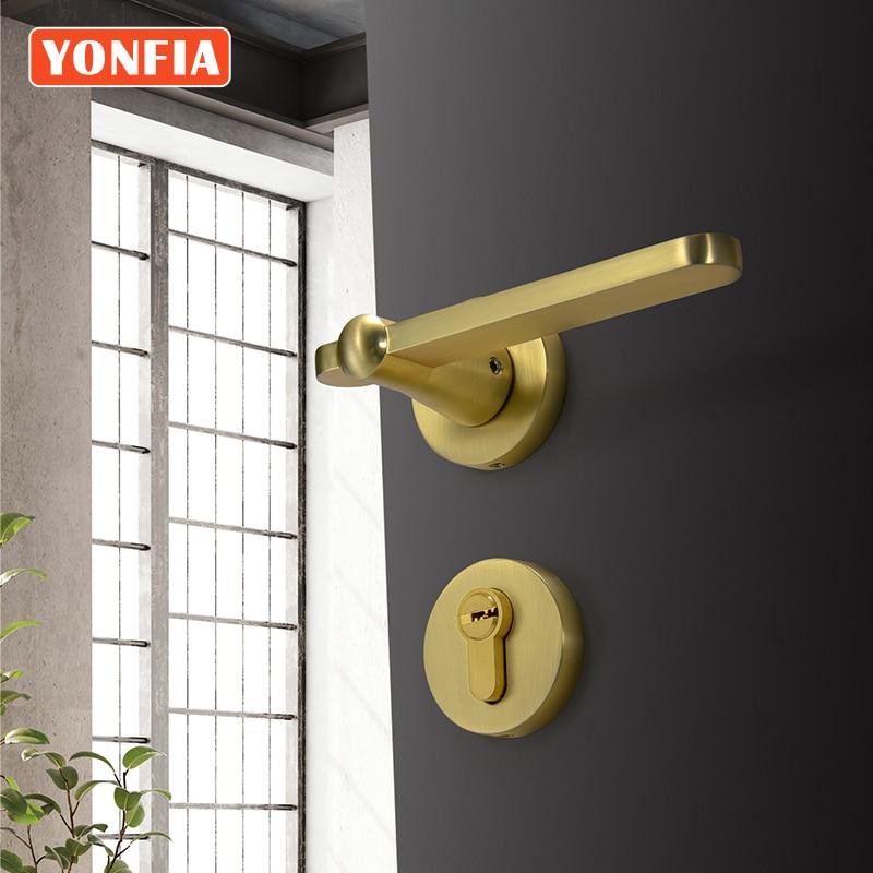 Yonfy 8049 الذهب نحى النحاس قفل الباب الأمريكية الحديثة نوم مقبض الباب قفل الداخلية غرفة المنزل مقبض الباب ل دورة المياه