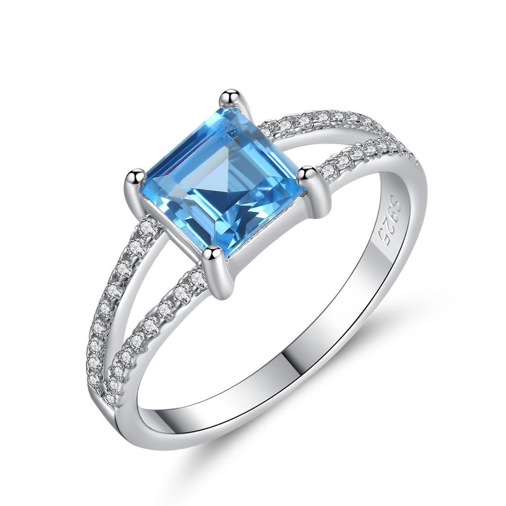 Anillo de Plata de Ley 925 auténtica de Allakalo para mujer, joyería fina, piedras preciosas de zafiro azul cielo, Anillos de boda, regalo de Navidad AR024