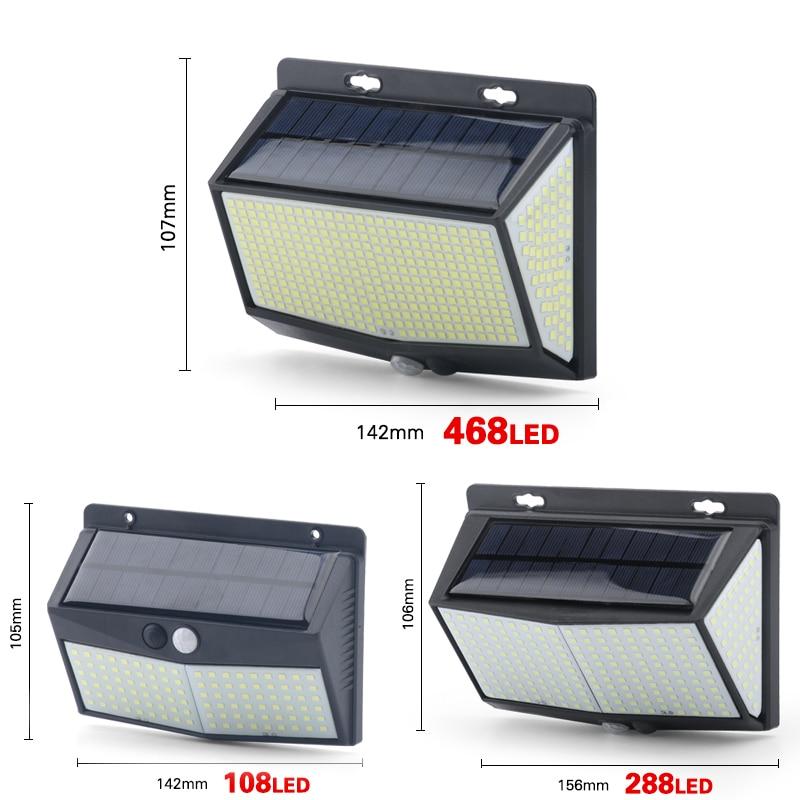 468 LED Solar Light Human Body Sensor 288 Solar Lamp IP65 Outdoor Light automatic adjust brightness Garden Street Light
