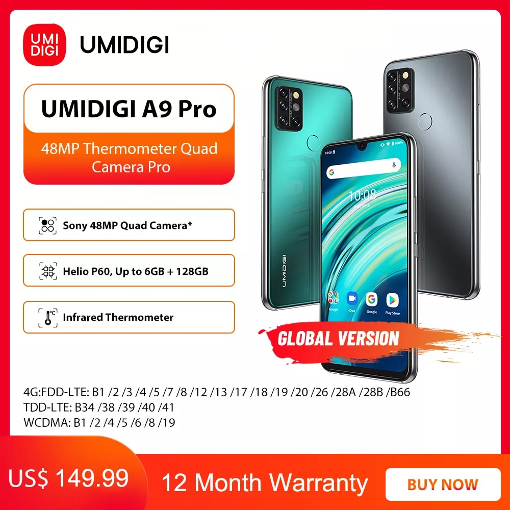 UMIDIGI A9 Pro 6 ГБ 128 Гб Смартфон глобальная версия разблокирована 48MP Quad Camera 24MP селфи Helio P60 6,3 дюйм FHD + безрамочный экран смарт-чехол для телефона чехол ...