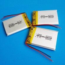3 pièces 3.7V 450mAh 403040 Lithium polymère li-po batterie Rechargeable cellules Lipo pour tachygraphe voiture DVR Bluetooth haut-parleur caméra