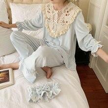 Winter Lange Mouwen Dikke Flanel Warme Pyjama Broek Prinses Nachtkleding Set Voor Vrouwen Nachtjapon Thuis Pak Kleding Plus Size 2019
