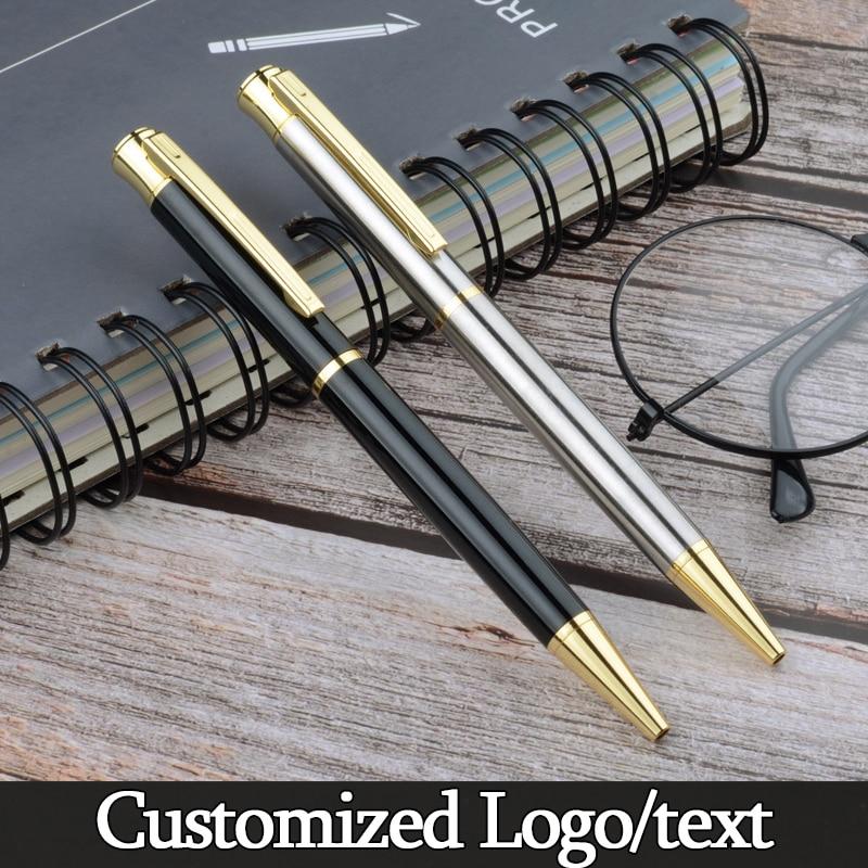 De lujo de bolígrafo de bola metálico de plata negro firma bolígrafo bolígrafos Oficina escuela suministros papelería regalo de logotipo personalizado