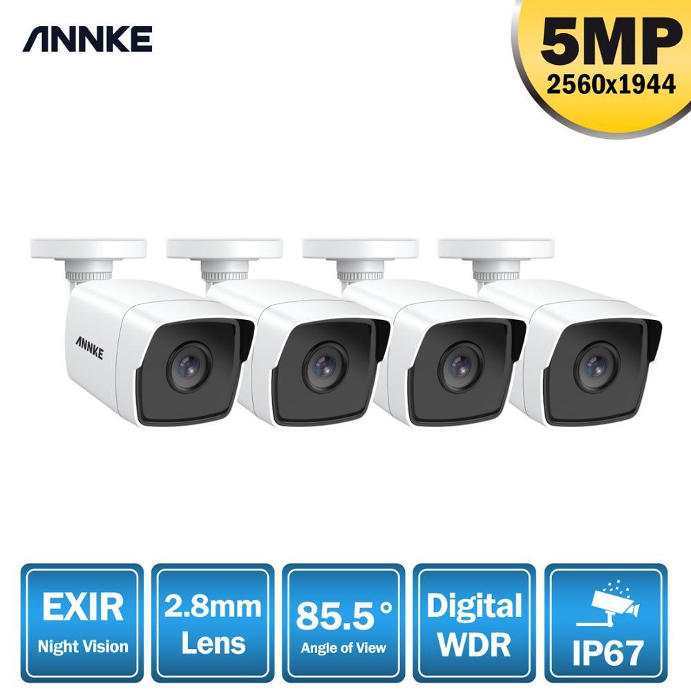 ANNKE 4 قطعة جدا HD 5MP CCTV TVI كاميرا في الهواء الطلق للماء رصاصة الأمن مراقبة نظام الإكسير للرؤية الليلية البريد الإلكتروني تنبيه كيت