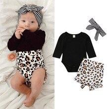 Ensemble vêtements printemps-été pour nouveau-nés   Ensemble de vêtements pour bébés filles, bandeau noir, manches longues, combinaison-haut imprimé, taille haute, bandeau rayé