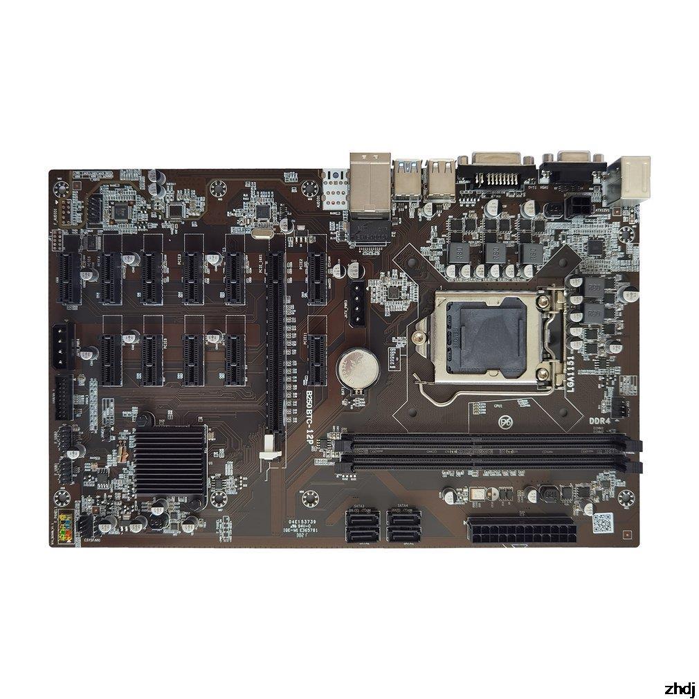 BTC B250 H110 برو 12P CPU مينر اللوحة ل CPU مجموعة 12 فتحة للبطاقات الفيديو دعم LGA 1151 DDR4 الذاكرة SATA3.0 USB3.0 منخفضة الطاقة