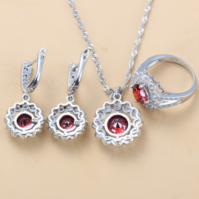 Silver Color Bridal Costume Red Garnet CZ Wedding Jewelry Sets Dangle Earrings Necklace And Ring 9-Color Sets