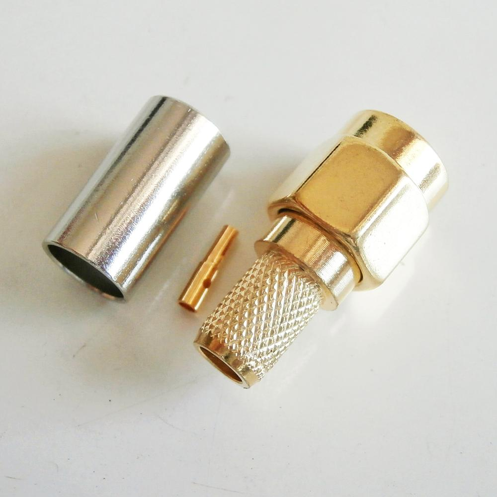 1x pcs high quality sma male to rpsma rp sma rp sma male 90 degree right angle plug coaxial pigtail jumper rg316 cable 1X Pcs RP-SMA RPSMA RP SMA Male Crimp for LMR195 RG58 RG142 RG223 RG400 Cable Plug Gold Plated Coaxial RF Connector Adapters