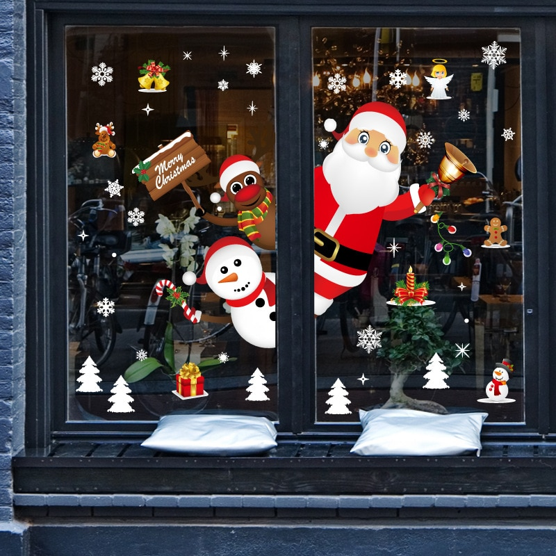 Christmas Decoration Stage Setting Glass Window Decoration Gift Santa Claus Festival Tree Bedroom Accessories Wall Sticker
