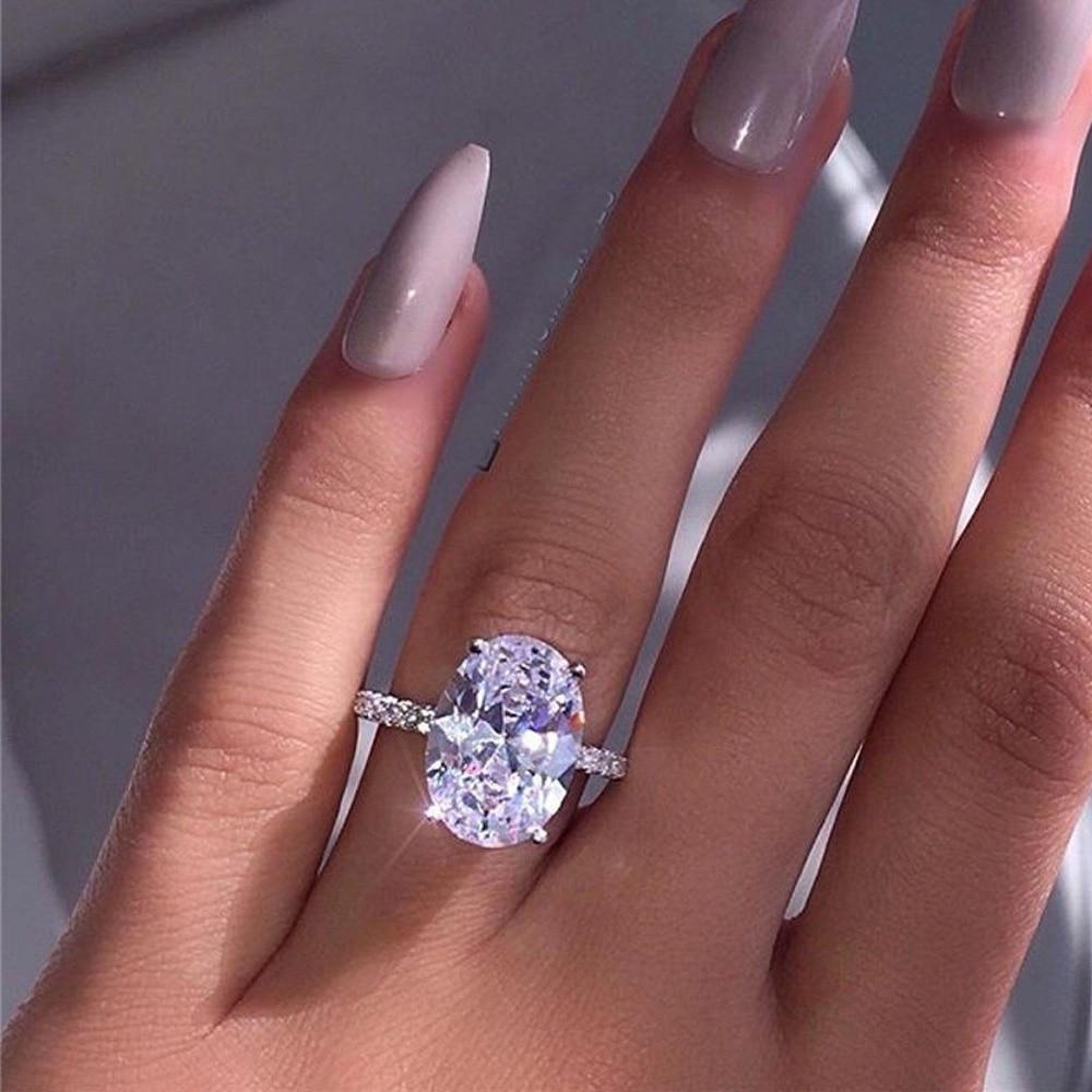 Anillo de circón de plata blanco de lujo de moda señora elegante diamante ovalado Boda nupcial joyería tamaño 5 6 7 8 9 10 11 regalo