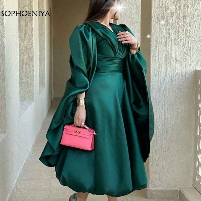 فستان سهرة قصير من الساتان باللون الأخضر متوفر بمقاسات كبيرة من دبي العربية السعودية فساتين سهرة رخيصة للنساء فساتين سهرة للحفلات abendkleider 2021
