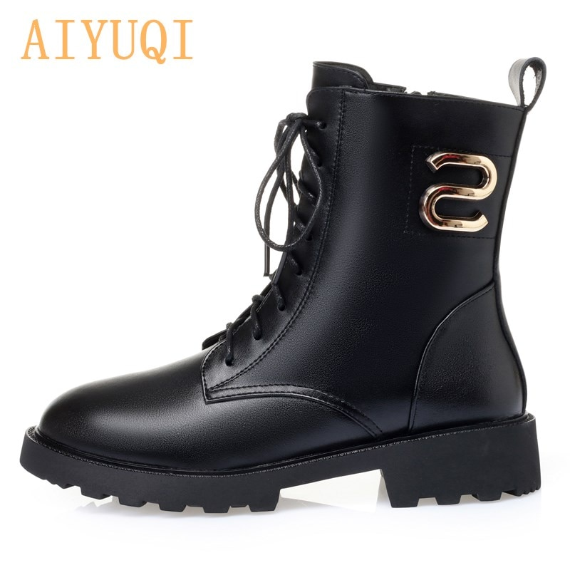 AIYUQI Women Booties Ankle Boots 2021 New Fashion Lace Genuine Leather Martin Boots Women Warm Women