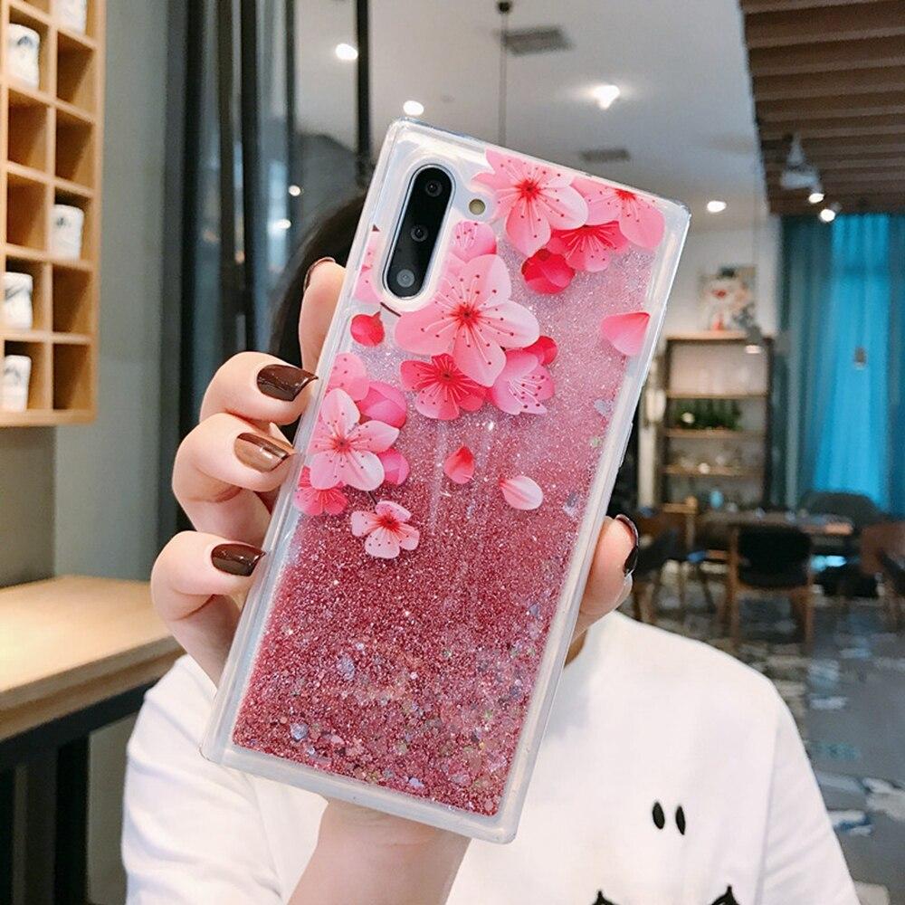 Romance Cherry Flower pink quicksand case for xiaomi redmi K20 pro note 8 7 6 5 7a 6a 5a mi A1 A2 A3 cc9 9t 9se 8 lite F1 fundas