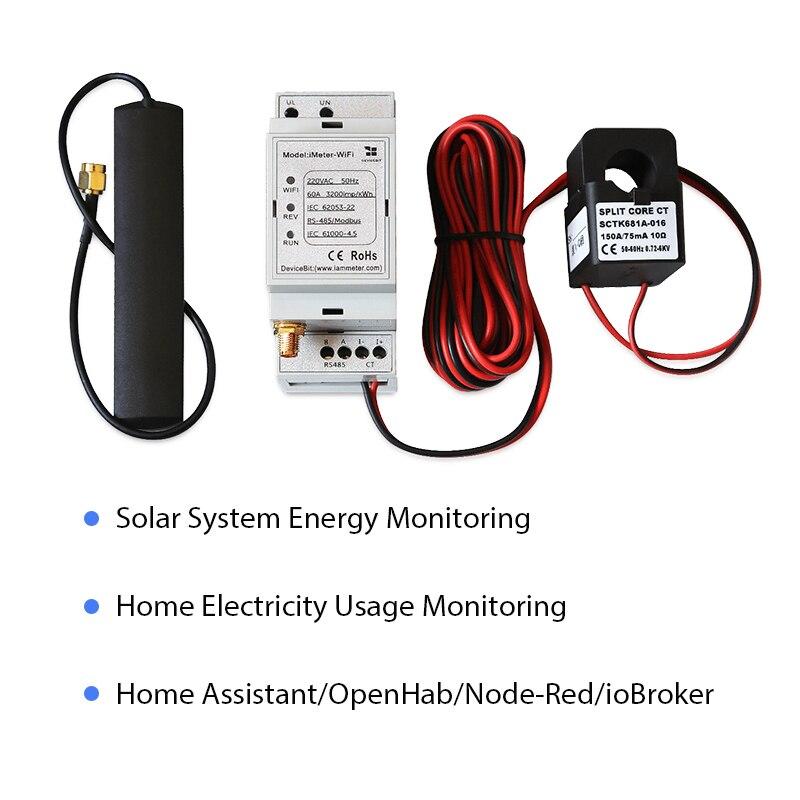 Bidirecional monofásico wifi medidor de energia, 150a, trilho din, casa-assistente, openhab, nó-vermelho, iobroker, monitor de sistema solar