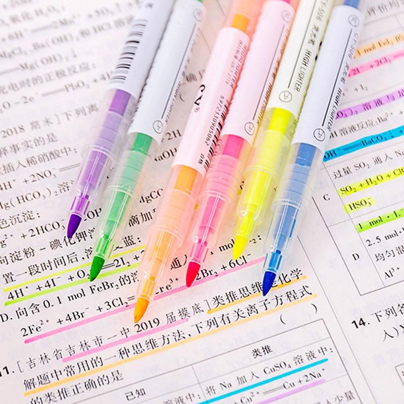 6 uds resaltador que se puede borrar en colores Pastel líquido bolígrafos marcadores para pizarra resaltador de doble cabeza para niños escuela Oficina suministros