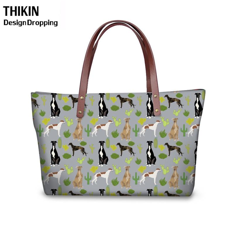 THIKIN mujeres Cactus Greyhounds impresión monedero y hombro PU bolsos Feminina Top-Handle bolso señoras de gran capacidad bolsas de mano
