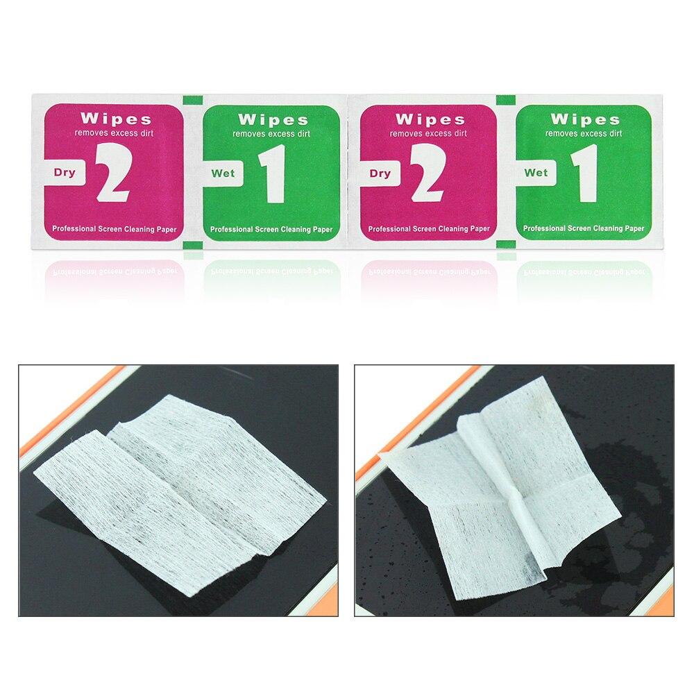 JONSNOW 1 + 2 seco húmedo toallitas paños de limpieza herramienta para Protector de pantalla de vidrio templado de guardia película para todo el teléfono móvil de la tableta de la cámara