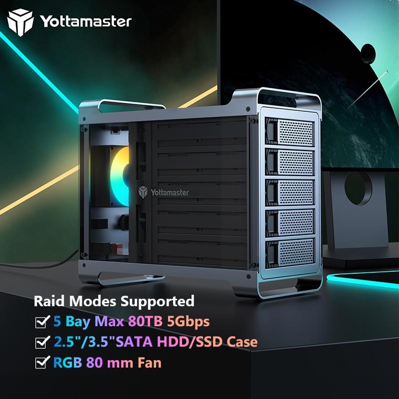 Yottamaster DF5RU3 Raid Hard Drive Enclosure External 5 Bay 2.5